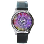 Flower Of Life Indian Ornaments Mandala Universe Round Metal Watch Front