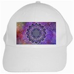 Flower Of Life Indian Ornaments Mandala Universe White Cap Front