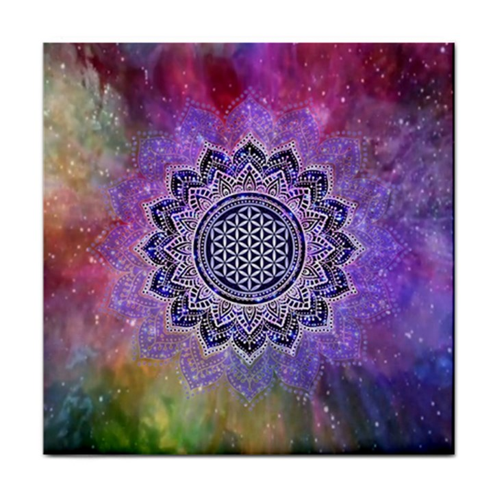 Flower Of Life Indian Ornaments Mandala Universe Tile Coasters