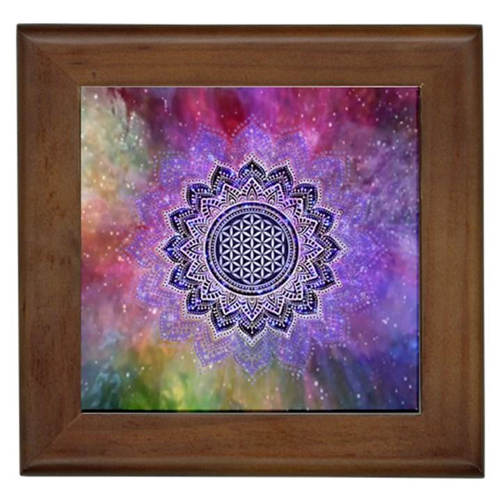 Flower Of Life Indian Ornaments Mandala Universe Framed Tiles