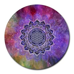 Flower Of Life Indian Ornaments Mandala Universe Round Mousepads
