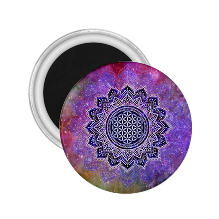 Flower Of Life Indian Ornaments Mandala Universe 2.25  Magnets