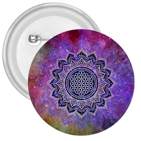 Flower Of Life Indian Ornaments Mandala Universe 3  Buttons