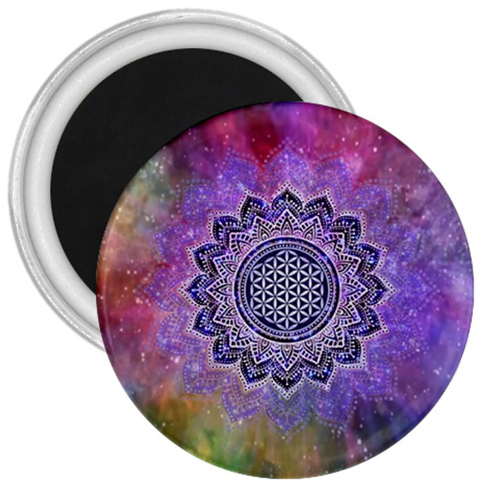 Flower Of Life Indian Ornaments Mandala Universe 3  Magnets