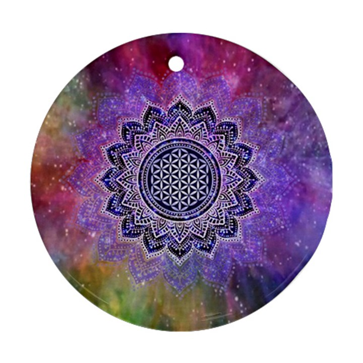Flower Of Life Indian Ornaments Mandala Universe Ornament (Round)
