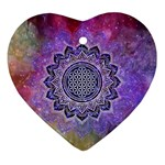 Flower Of Life Indian Ornaments Mandala Universe Ornament (Heart)  Front
