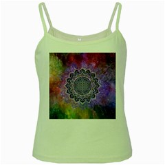 Flower Of Life Indian Ornaments Mandala Universe Green Spaghetti Tank