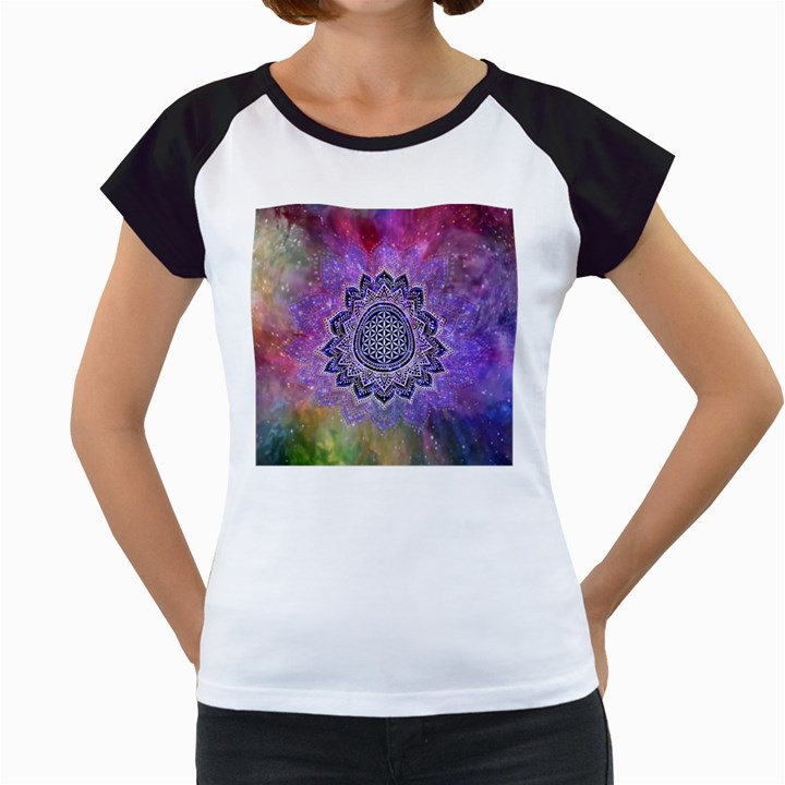 Flower Of Life Indian Ornaments Mandala Universe Women s Cap Sleeve T