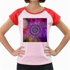 Flower Of Life Indian Ornaments Mandala Universe Women s Cap Sleeve T Shirt