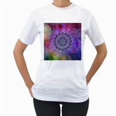 Flower Of Life Indian Ornaments Mandala Universe Women s T-Shirt (White) (Two Sided)