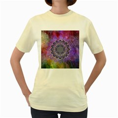 Flower Of Life Indian Ornaments Mandala Universe Women s Yellow T-Shirt