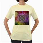 Flower Of Life Indian Ornaments Mandala Universe Women s Yellow T-Shirt Front