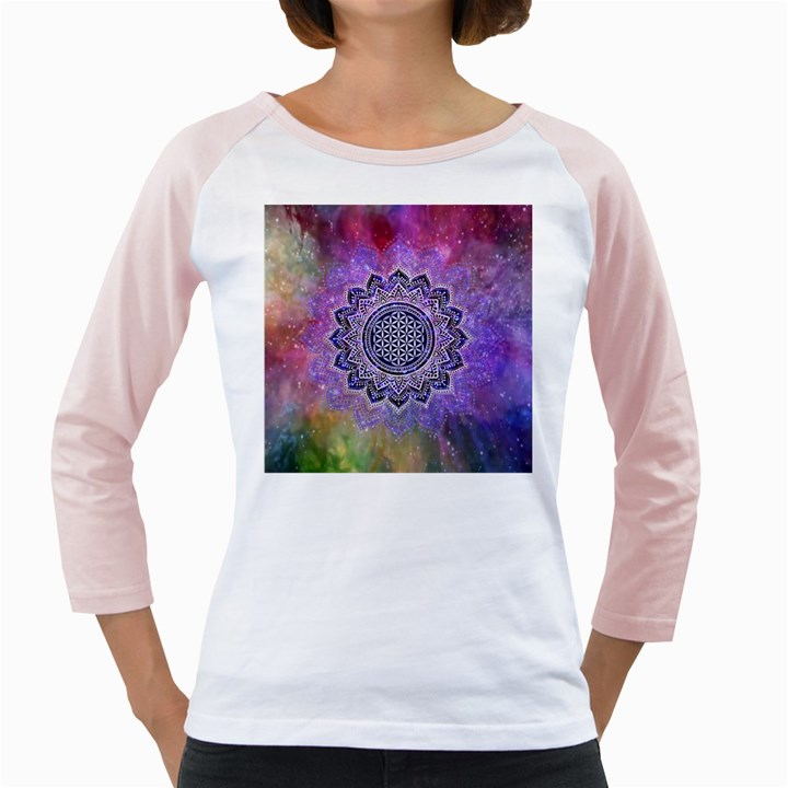 Flower Of Life Indian Ornaments Mandala Universe Girly Raglans