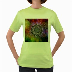 Flower Of Life Indian Ornaments Mandala Universe Women s Green T Shirt