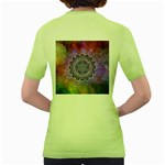 Flower Of Life Indian Ornaments Mandala Universe Women s Green T-Shirt Back