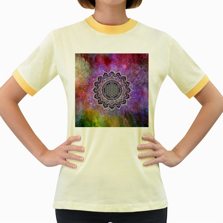 Flower Of Life Indian Ornaments Mandala Universe Women s Fitted Ringer T-Shirts