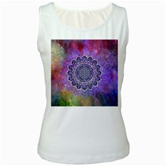 Flower Of Life Indian Ornaments Mandala Universe Women s White Tank Top