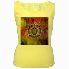 Flower Of Life Indian Ornaments Mandala Universe Women s Yellow Tank Top