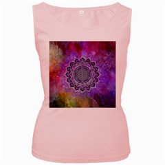 Flower Of Life Indian Ornaments Mandala Universe Women s Pink Tank Top