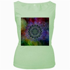Flower Of Life Indian Ornaments Mandala Universe Women s Green Tank Top