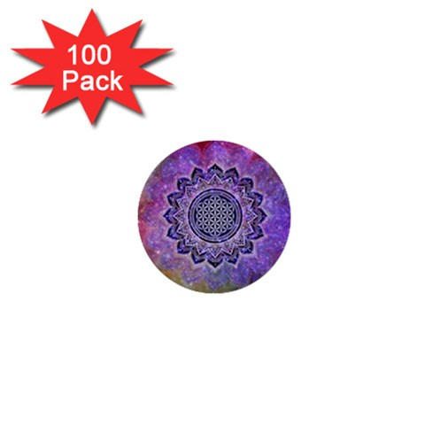 Flower Of Life Indian Ornaments Mandala Universe 1  Mini Buttons (100 pack)