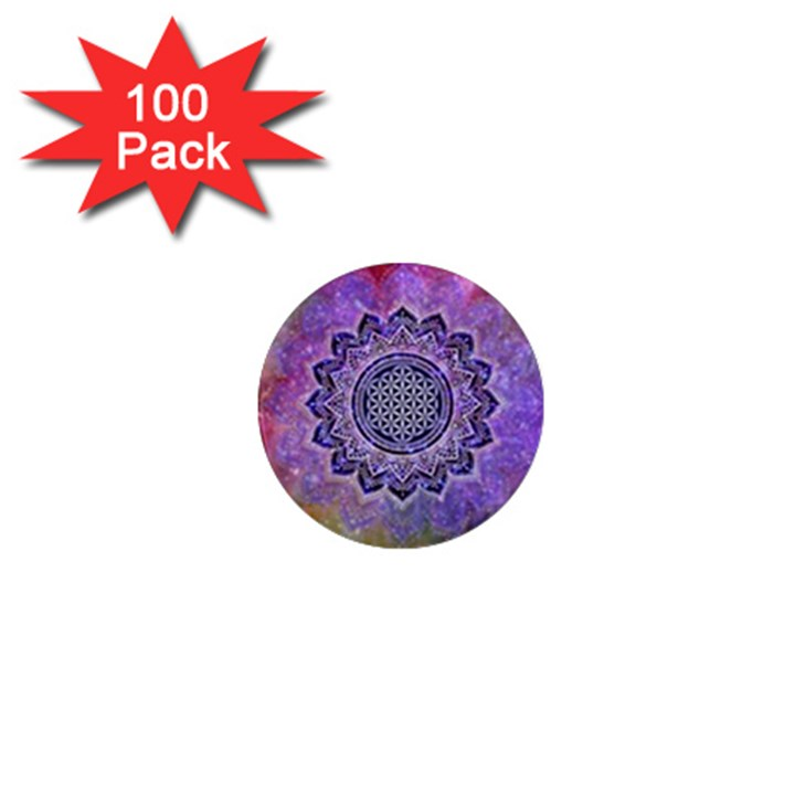 Flower Of Life Indian Ornaments Mandala Universe 1  Mini Magnets (100 pack)