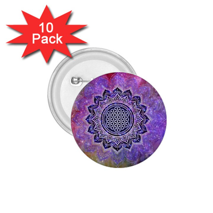 Flower Of Life Indian Ornaments Mandala Universe 1.75  Buttons (10 pack)