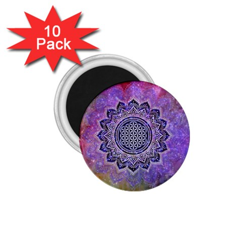 Flower Of Life Indian Ornaments Mandala Universe 1.75  Magnets (10 pack)
