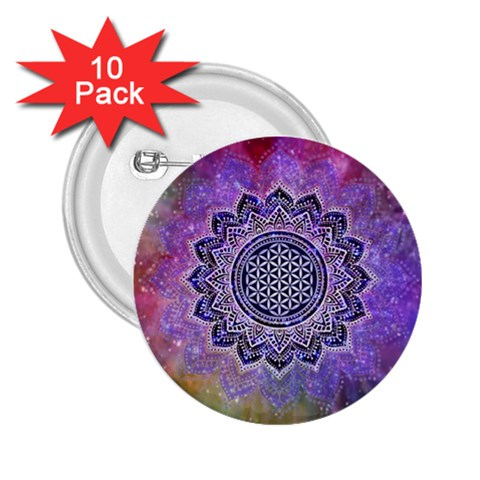 Flower Of Life Indian Ornaments Mandala Universe 2.25  Buttons (10 pack)