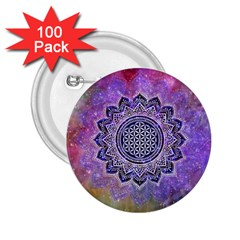 Flower Of Life Indian Ornaments Mandala Universe 2.25  Buttons (100 pack)