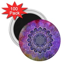 Flower Of Life Indian Ornaments Mandala Universe 2 25  Magnets (100 Pack)