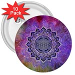 Flower Of Life Indian Ornaments Mandala Universe 3  Buttons (10 pack)  Front