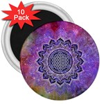 Flower Of Life Indian Ornaments Mandala Universe 3  Magnets (10 pack)  Front