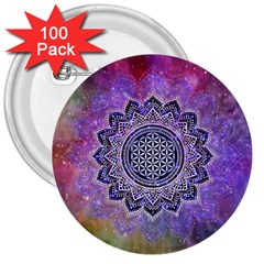 Flower Of Life Indian Ornaments Mandala Universe 3  Buttons (100 Pack)