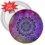 Flower Of Life Indian Ornaments Mandala Universe 3  Buttons (100 pack)  Front