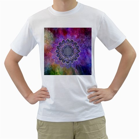 Flower Of Life Indian Ornaments Mandala Universe Men s T-Shirt (White) (Two Sided)