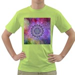 Flower Of Life Indian Ornaments Mandala Universe Green T-Shirt Front