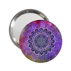 Flower Of Life Indian Ornaments Mandala Universe 2 25  Handbag Mirrors