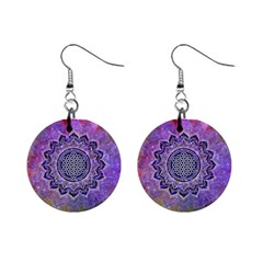Flower Of Life Indian Ornaments Mandala Universe Mini Button Earrings