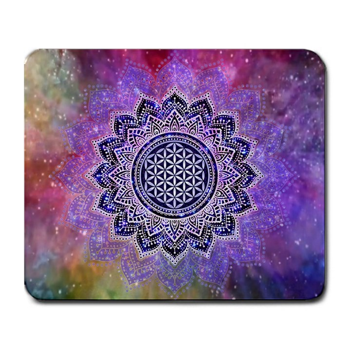 Flower Of Life Indian Ornaments Mandala Universe Large Mousepads
