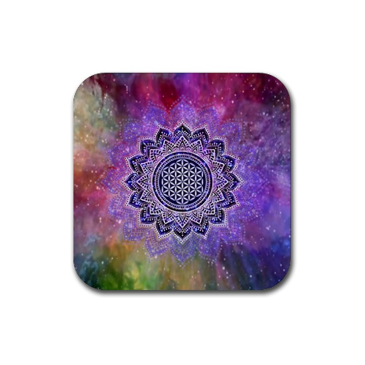 Flower Of Life Indian Ornaments Mandala Universe Rubber Coaster (Square)