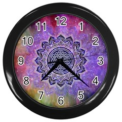 Flower Of Life Indian Ornaments Mandala Universe Wall Clocks (Black)
