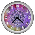 Flower Of Life Indian Ornaments Mandala Universe Wall Clocks (Silver)  Front