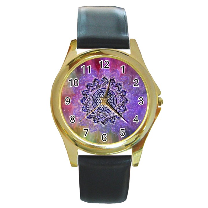Flower Of Life Indian Ornaments Mandala Universe Round Gold Metal Watch