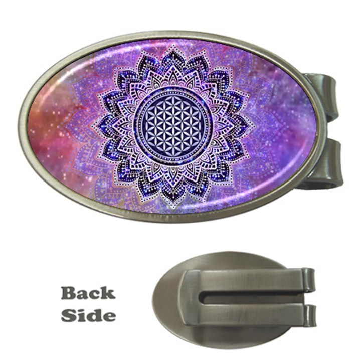 Flower Of Life Indian Ornaments Mandala Universe Money Clips (Oval)