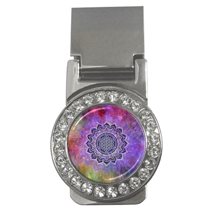 Flower Of Life Indian Ornaments Mandala Universe Money Clips (CZ)