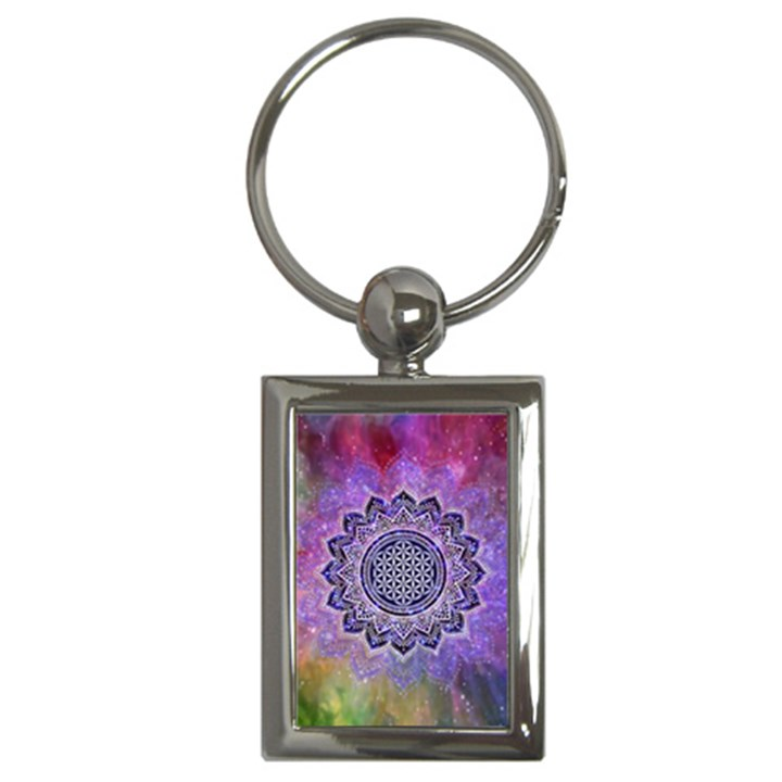 Flower Of Life Indian Ornaments Mandala Universe Key Chains (Rectangle)
