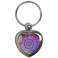 Flower Of Life Indian Ornaments Mandala Universe Key Chains (Heart)