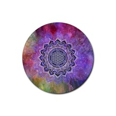 Flower Of Life Indian Ornaments Mandala Universe Rubber Round Coaster (4 Pack)
