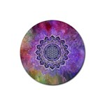 Flower Of Life Indian Ornaments Mandala Universe Rubber Round Coaster (4 pack)  Front